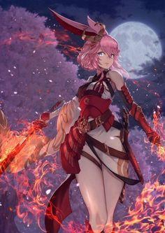 Magic demon girl with fire anime animals, kawaii anime, female character design, game Manga Girl, Girls Anime, Anime Art Girl, Manga Anime, Anime Sexy, Fantasy Anime, Fantasy Girl, Anime Style, Kawaii Anime