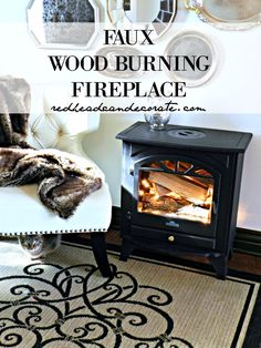 Faux Wood Burning Fire Place - Redhead Can Decorate