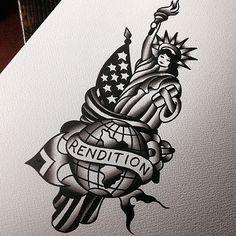 Old School Rendition Statue of Liberty tattoo idea by Robert Samuel
