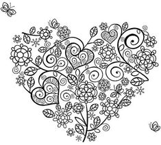 Coloring pages, coloring pages for kids, coloring sheets, doodle drawings, dood Heart Coloring Pages, Printable Coloring Pages, Coloring Pages For Kids, Coloring Sheets, Coloring Books, Kids Coloring, Doodle Drawings, Bunt, Embroidery Patterns