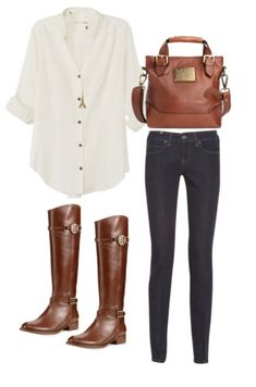 Dark skinnys and a light flowy top with cognac boots