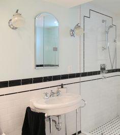 Bathroom: Wonderful Art Deco Bathroom Design With Charming Mirror And Classic White Washbasin. Vanity, Bathroom Vanity Ideas, Vanity Design For Small Bathroom, Vanities Idea, Bathroom Vanities Drawing Lessons, Bathroom Styling, Bathroom Lighting, Art Deco Bathroom, Bathroom Ideas, Bathroom Renos, Bathroom Inspiration, Vintage Bathrooms, Small Bathrooms