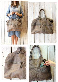 "Handmade Italian Brown Leather Messenger Bag ""shopper multi tasc 5"" di LaSellerieLimited su Etsy"