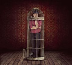 The surreal and conceptual photography of Shawn Van Daele. Surrealism Photography, Conceptual Photography, Portrait Photography, Canvas Art Prints, Fine Art Prints, Alfred Hitchcock The Birds, Of Mice And Men, Bird Cages, Photo Manipulation