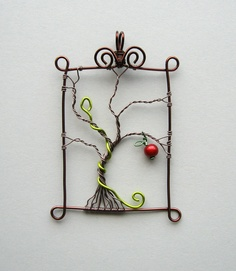 Eden - framed wire tree, serpent and apple pendant