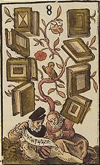 'The Eight of Books', coloured woodcut from Jost Amman's 'Charta lusoria...