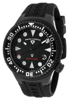 Swiss Legend 11044D-BB-01 Watches,Neptune (44 mm) Black Dial Black Silicone, Women's Swiss Legend Quartz Watches
