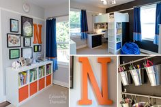 Boys room in gray, orange, navy and blue. Wall color is Benjamin Moore Stonington Gray. Ikea loft bed with desk and organization ideas.
