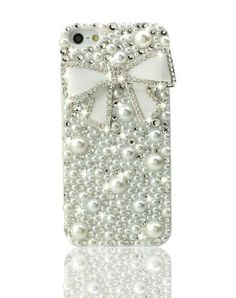 3D Bling Crystal iPhone Case for iPhone 5 - Pearl Ribbon
