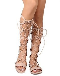 Liliana EK75 Women Suede Open Toe Gilly Tie Criss Cross Gladiator Sandal - Nude -- To view further, visit now : Lace up sandals