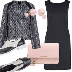 Un alternativa al tacco indossato con un tubino potrebbe essere un look alternativo. La stringata che vi propongo è una bicolor b&w ma il tocco femminile lo diamo con gli orecchini rosa e la tracollina griffata. La giacca, una Pennyblack versatile di stile.