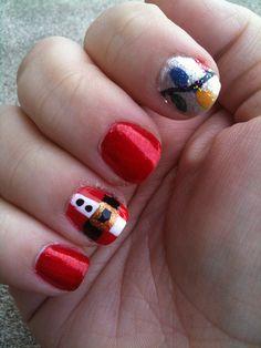christmas nails, santa, lights