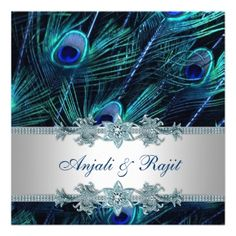 Royal Blue and Silver Royal Blue Peacock Wedding Invitation Cards