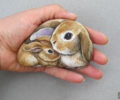 Bunnies Painted on the Rock. Cute Mother and Baby (Alika-Rikki) Tags: pet baby pets rabbit bunny bunnies art animal animals rock stone painting kid rocks acrylic stones mother handpainted rabbits etsy rockpainting paintedrock artalika
