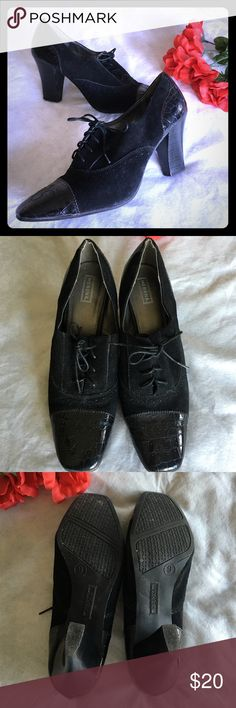 🌷Vintage Styled Heels🌷 Black suede, patent true leather trim, lace up heels, 3 inch heel height. Barely used and excellent condition. Comfortable, classy, sexy. 😊💕 Merona Shoes Heels
