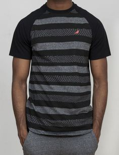 Staple Nightshade Stripe Tee in Grey. Custom black and heathered grey  staple tee with short raglan sleeves and small pigeon logo over left chest. f3e7b62a0e4