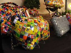 Newspaper & candy wrapper handbags