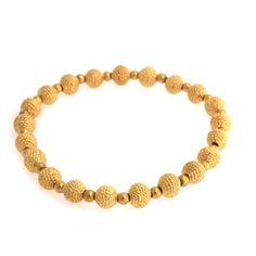 Rare Joan Rivers 14K Yellow Gold GP Textured Bead Stretch Bracelet A875 #JoanRivers #Stretch