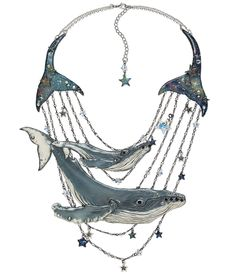 """Design Idea G93P """"Galaxy Whales"""" by Grand Prize Silver Medal Winner Designer Starsha Battrick. Fire Mountain Gems and Beads' Contest 2016 featuring Creative Clays. Category: Jewelry Design Set Silver Medal Prize Winner.  #jewelrymakingcontest #polymerclay #jewelrydesign #jewelryart #clayart #diyjewelry"""