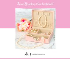 Give the gift that will delight your friends, family and colleagues this Christmas.  Kazzi Kovers Travel Jewellery Box (with lock) is great for keeping your jewellery organised and secured.  Whether you're travelling overnight or for a grand holiday, this pink case is lightweight and compact and is designed to fit snug in your handbag, carry-on, tote, suitcase and hotel safes.  Available in Pink, Blue, Black and Mauve colours.