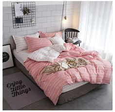 Solid color striped grid pcs Bedding Set Twin Full Queen Size Duvet Cover  Bed Sheet and Pillowcases Bed Linen Bedclothes CLF. Subcategory  Home  Textile. d05da01a40e2e