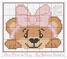 Lindeza de Ursinha!  #grafico #gráfico #graficos #gráficos #ursa #ursinha #pontocruz #pontodecruz - cantinhodafofurapx Cross Stitch Baby, Cross Stitch Charts, Cross Stitch Designs, Cross Stitch Patterns, C2c Crochet Blanket, Crochet Blanket Patterns, Crochet Baby, Plastic Canvas Coasters, Plastic Canvas Patterns