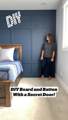 Accent Wall Bedroom, Master Bedroom, Hidden Rooms, Secret Rooms, Board And Batten, Home Upgrades, Wall Treatments, Home Projects, Home Furniture