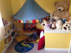 Fabian Junior's nursery is a space designed for a lively toddler. Reading corner was specifically designed to suit his height and abilities.The book shelves are actually spice racks from IKEA! Reading Corner Kids, Reading Nook, Children Reading, Rosalie, Baby Nursery Neutral, Project Nursery, Baby Boy Rooms, Teacher Hacks, Baby Room Decor