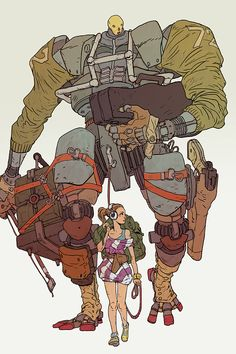 Fick & Fiddler - Started as a joke on the tiresome theme of pre-teen girls and giant robots. Ended up liking it enough to think up a comic world around them.  ::