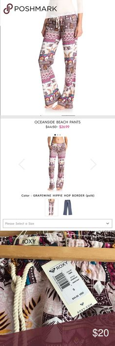 ✨NWT✨ Roxy Pants NWT Roxy Grapewine Hippie Hop Border Oceanside Beach Pants, still on the website! Super flattering. Tags: grape purple pink ruby yellow mustard seed chevron detailed colors multicolored patterned tie up Roxy Pants