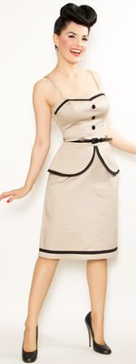 LOVE, LOVE, LOVE this: Oyster & Black Sergeant Pucker Suit Wiggle Dress - S - XL