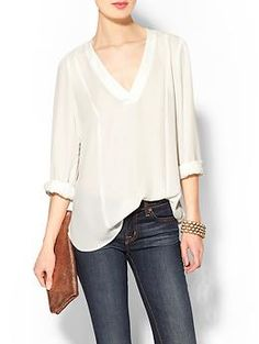 Basic, simple... pretty much my style. Eight Sixty Long Sleeve V-Neck Top | Piperlime