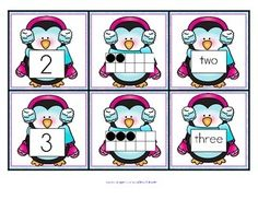 FREE Penguin Number Matching Cards 0-10:  number, ten frame, and number word!