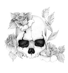 Tattoos Designs Skulls And Roses Pretty Skull Tattoos, Skull Tattoo Flowers, Skull Rose Tattoos, Flower Skull, Body Art Tattoos, Kunst Tattoos, Tattoo Drawings, Art Drawings, Compass Tattoo Drawing