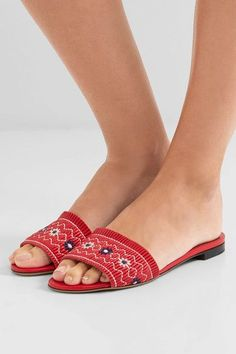 Tabitha Simmons - Embroidered Leather Slides - IT35.5