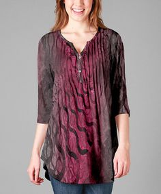 Another great find on #zulily! Fuchsia & Gray Abstract Henley Tunic - Plus #zulilyfinds