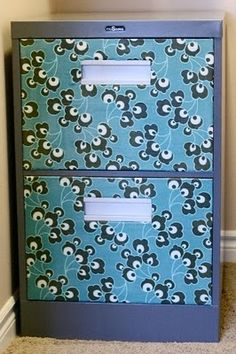 Fabric filing cabinet makeover