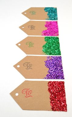 Get your glitter on with these fabulously made from scratch gift tags. No fancy cutting machines, no expensive premade tags in this tutorial! Use hairspray to help hold the glitter in place Christmas Gift You Can Make, Christmas Name Tags, Diy Christmas Gifts, Christmas Projects, Christmas Christmas, Holiday Crafts, Christmas Decorations, Christmas Ornaments, Glitter Force