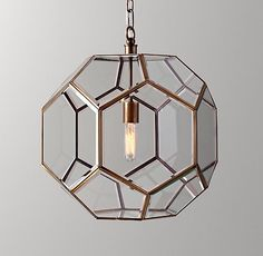 Giles Faceted Sphere Lantern Pendant - Aged Brass
