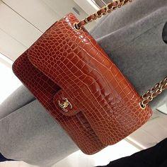 Beautiful Alligator Classic CHANEL Flap Bag.