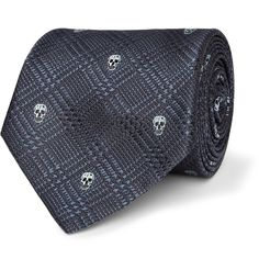 Alexander McQueen Skull-Embroidered Prince Of Wales Check Silk Tie.