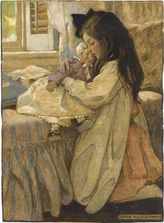 """The Then Lover"" by Jessie Willcox Smith (American 1863 - 1935) American Illustration, Children's Book Illustration, Jessie Willcox Smith, Robert Duncan, Little Doll, Vintage Pictures, Belle Photo, Vintage Children, Eeyore"