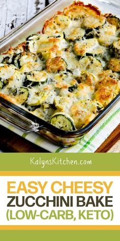 Cheesy Zucchini Bake, Low Carb Zucchini Recipes, Keto Recipes, Vegetarian Recipes, Cooking Recipes, Zucchini Casserole, Cheesy Recipes, Zuccini Bake, Easy Diabetic Recipes