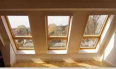 These velux roof lights allow massive amounts of light to flood in to your new loft space. They run almost from floor to ceiling. Great for loft conversions any day! Attic Lighting, Attic Apartment, Attic Renovation, Roof Light, London House, Windows, Loft Room, House Extensions, Attic Conversion