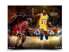 #SportsMemorabilia.com - #SportsMemorabilia.com Michael Jordan Magic Johnson Autographed 16X20 Aluminum Print Match Up /50 UDA - AdoreWe.com