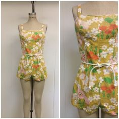 1960s Bathing Suit 60s Mod Floral Romper by CreatedAndCollected