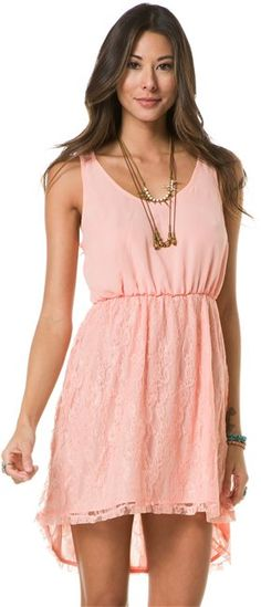 Pink and lace dress! http://www.swell.com/Womens-Dresses