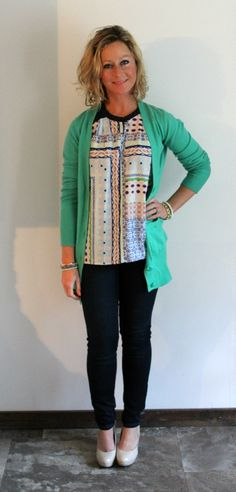Stitch Fix Review  Janice Graphic Print Blouse with Donelle V-Neck Button-Up Cardigan
