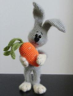 Rabbit and Carrot OOAK Stuffed Animals Crochet Soft toy decor Amigurumi Made to order