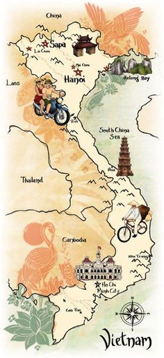 Vietnam illustrated map by Georgie Fearns Travel Maps, New Travel, Asia Travel, Travel Trip, Globe Travel, Vietnam Voyage, Vietnam Travel, Asia Map, Map Globe